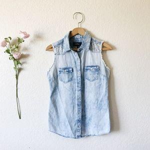 Confess denim embellished vest